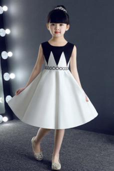 Vestido niña ceremonia Joya Drapeado Falta Hasta la Rodilla primavera Sin mangas
