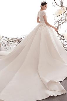 Vestido de novia Encaje largo Manga corta Natural Corpiño Acentuado con Perla