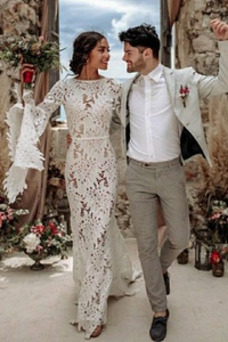 Vestido de novia Encaje Encaje Barco Corte Sirena Natural Espalda Descubierta