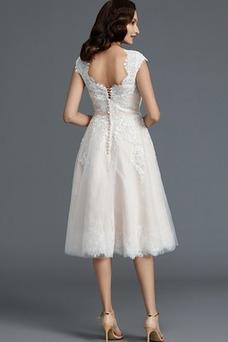 Vestido de novia Encaje Cremallera Verano Glamouroso Natural Falta