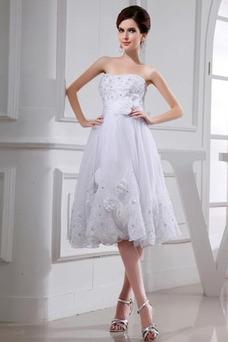 Vestido de novia Corte-A Rosetón Acentuado Sin tirantes Elegante Falta