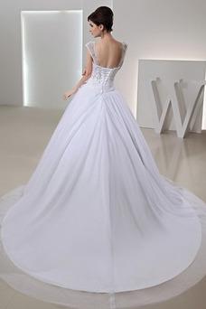 Vestido de novia Abalorio largo tul Escote con Hombros caídos Arco Acentuado