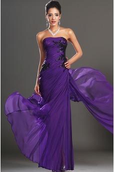 Vestido de noche Encaje Glamouroso Natural Frontal Dividida Apliques
