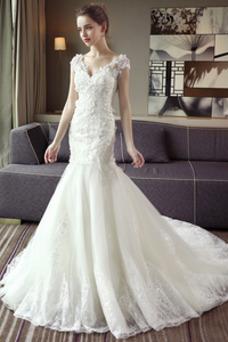 Vestido de novia Escote en V Sala Manga corta largo Cordón Encaje