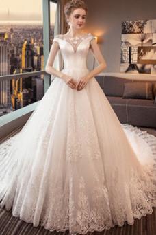 Vestido de novia Abalorio Manga corta Manga tapada Barco Cordón tul