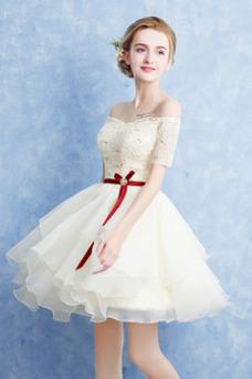 Vestido de cóctel Corto Glamouroso Manga corta Natural Abalorio Gasa