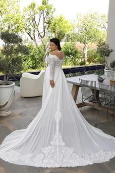 Vestido de novia vendimia Rectángulo Otoño Corte-A Cola Capilla Escote con Hombros caídos