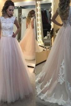 Vestido de novia Espalda Descubierta Corte-A Sencillo largo Pera Iglesia