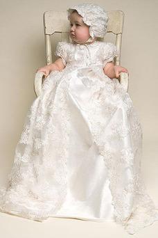 Vestido de Bautizo Joya Corte princesa Cola Barriba Recatada Imperio Cintura