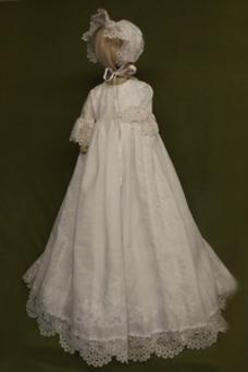 Vestido de Bautizo Encaje Botón Corte princesa largo Imperio Cintura Tallas pequeñas
