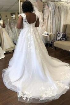 Vestido de novia Playa Cola Barriba Baja escote en V Formal Escote en V