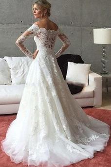 Vestido de novia Cola Barriba Capa de encaje Cremallera Corte-A Escote con Hombros caídos