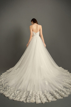Vestido de novia Capa de encaje Escote Corazón Apliques Sala Invierno