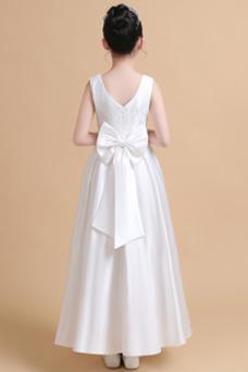 Vestido niña ceremonia Satén Joya Elegante primavera Hasta el Tobillo Encaje