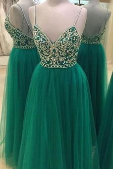 Vestido de fiesta Espectaculares Corte-A Baja escote en V tul Natural