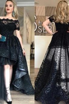Vestido de fiesta Escote con Hombros caídos Formal Asimétrico Dobladillo