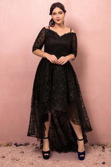 Vestido de fiesta Escote con Hombros caídos Asimètrico Cordón Elegante