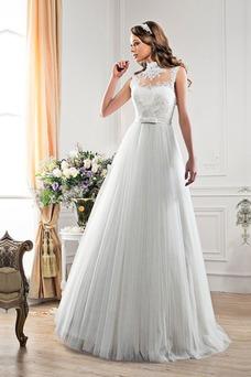 Vestido de novia Fajas Encaje Corte-A primavera Escote con cuello Alto