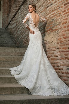 Vestido de novia Cola Capilla Manga de longitud 3/4 Apliques Encaje