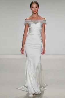 Vestido de novia Elegante Espalda con ojo de cerradura Escote con Hombros caídos