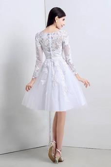 Vestido de novia Apliques Natural Corte-A Alto cubierto Hasta la Rodilla