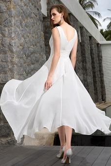 Vestido de novia Asimétrico Dobladillo Escote en V Corte-A Sin mangas