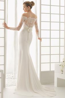 Vestido de novia Botón Escote con Hombros caídos Natural Verano Cola Barriba