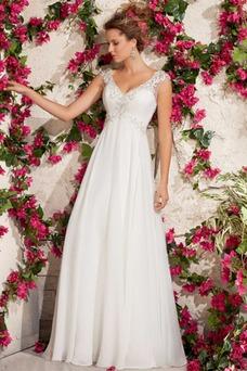 Vestido de novia Corte Recto Botón Playa Manga corta Cremallera Encaje