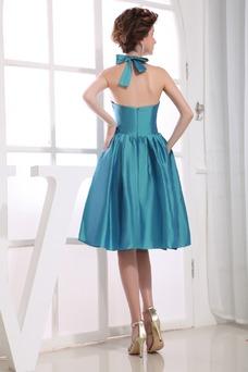 Vestido de fiesta Escote halter tafetán Lazos Corte-A Sin mangas Natural