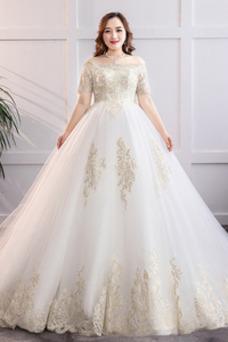 Vestido de novia Recatada Bordado Cordón Camiseta Encaje Escote con Hombros caídos