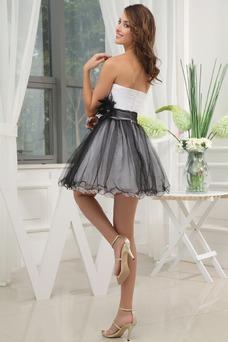 Vestido de cóctel Escote Corazón Flores Natural Organza Corto Espalda Descubierta