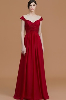 Vestido de dama de honor Corte-A Capa de encaje Escote en V Natural Encaje largo