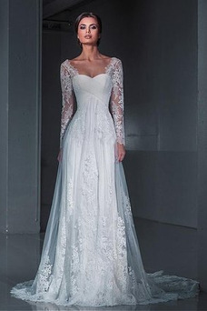 Vestido de novia Encaje Natural Satén Playa Escote Cuadrado largo