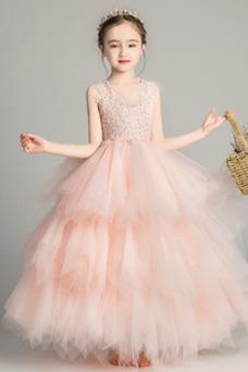 Vestido niña ceremonia primavera Cremallera Joya Encaje Natural Abalorio