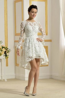 Vestido de novia Encaje Cremallera Natural Capa de encaje Barco Encaje