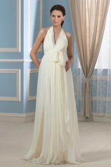 Vestido de novia Embarazadas Verano Cremallera Imperio Cintura Cola Barriba