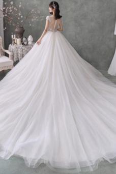 Vestido de novia Corte-A Formal Triángulo Invertido Manga corta Cola Real