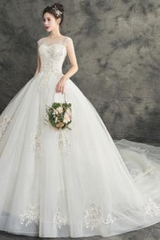 Vestido de novia Elegante Cola Catedral Natural Joya Cordón primavera