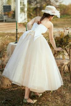Vestido de novia Sin tirantes Oscilación Elegante Sin mangas Falta Verano