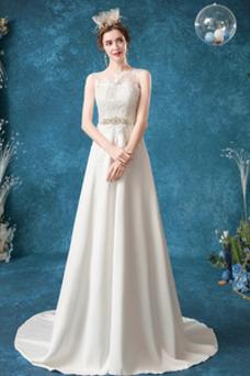 Vestido de novia Sencillo Pura espalda Apliques Satén Natural Corte-A