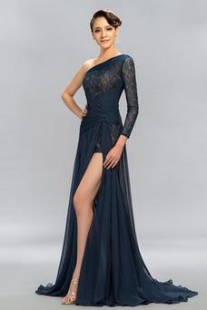 Vestido de noche Corte-A Bordado Natural primavera Capa de encaje Escote Asimètrico