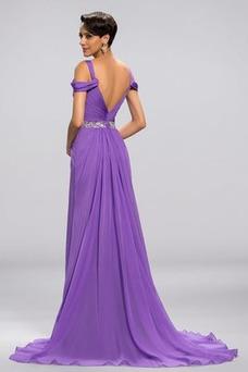 Vestido de noche largo Cremallera Corte-A Natural Blusa plisada Dobladillos