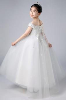 Vestido niña ceremonia Hasta el Tobillo Natural Apliques Otoño Escote con Hombros caídos