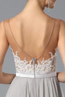 Vestido de noche primavera Capa de encaje Formal Gasa Encaje Natural