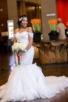 Vestido de novia Manzana Escote con Hombros caídos Encaje Cremallera