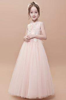 Vestido niña ceremonia tul Corte-A Formal Joya Cremallera Hasta el Tobillo