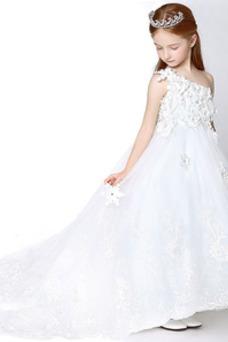 Vestido niña ceremonia Invierno Corte-A Falta Un sólo hombro largo Cremallera