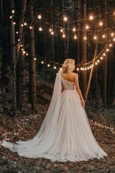 Vestido de novia Sin mangas Natural Cola Barriba Un tirante con flor