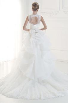 Vestido de novia Corte-A Sala Drapeado Joya Cola Corte Encaje