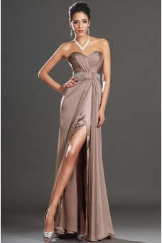 Vestido de noche Abertura en el muslo sexy Corte Recto Cremallera Verano